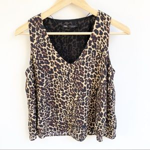 Zara NEW S Leopard Print V-Neck Sleeveless Top